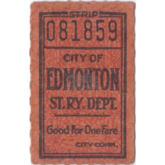 Edmonton Streetcar Railway Ticket