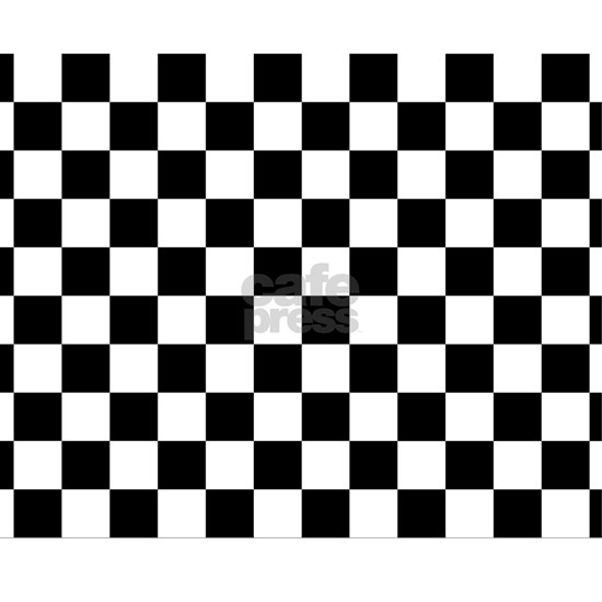 White Checkerboard Drawstring Bag