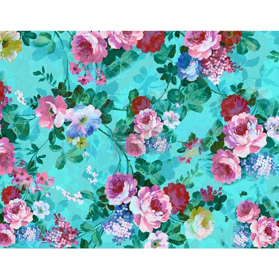 Red & Pink Rose Turquoise Blue Background