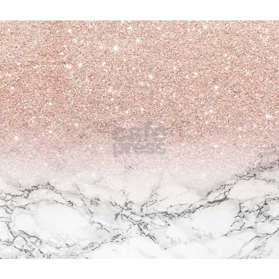 Faux rose pink glitter ombre white marble
