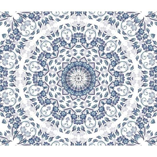 Grayish Blue Floral Mandal