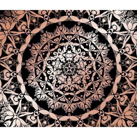 Rose Gold Black Floral Mandala