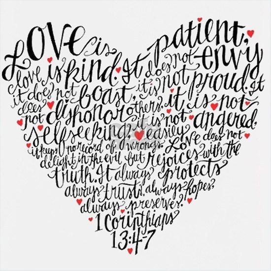 Love is patient Corinthians 13:4-7