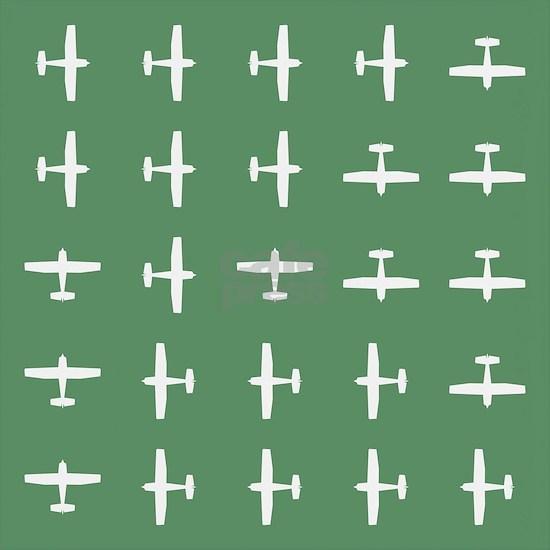 Airplane Flying Motif Green 1510