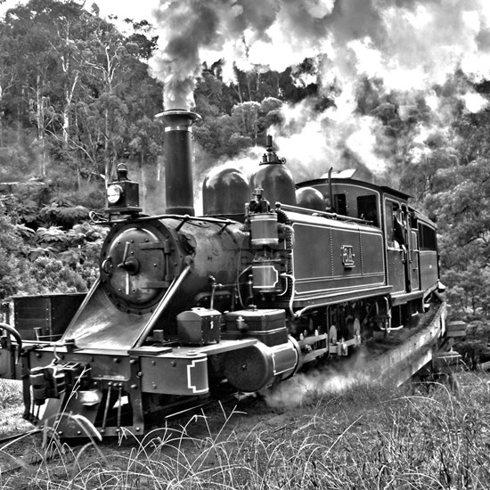 Old Fashioned Black and White Steam Train Photo