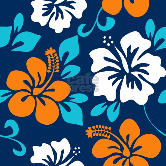 Navy-orange-light blue-white Hawaiian Hibiscus