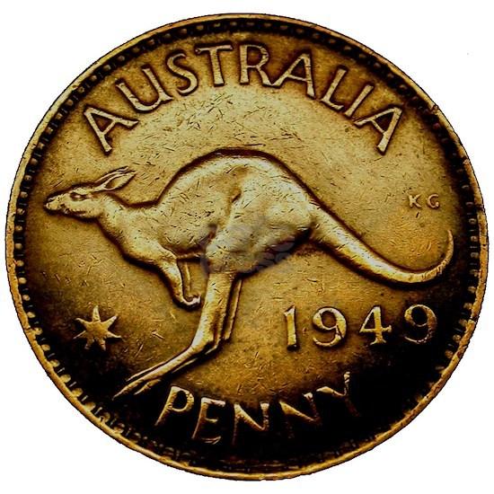 1949 AUSTRALIA One Penny AMAZING Kangaroo Coin