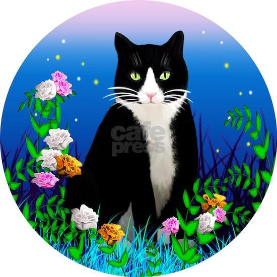 Tuxedo Cat among the Flowers