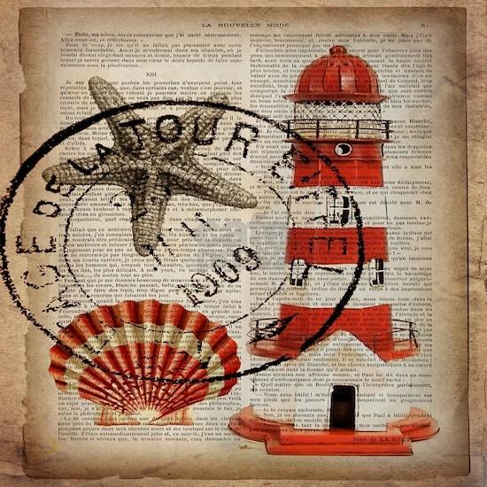 vintage lighthouse sea shells