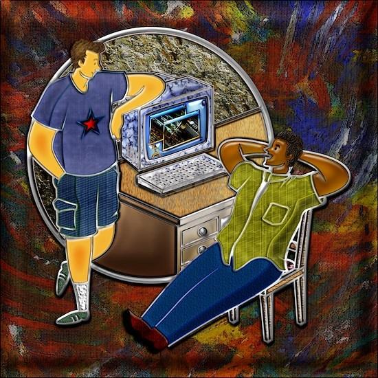 3-Friends talking at desk around computer sto