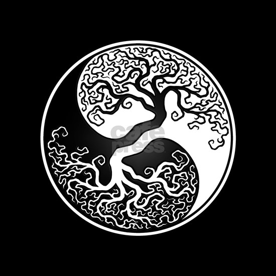 White Yin Yang Tree with Black Back