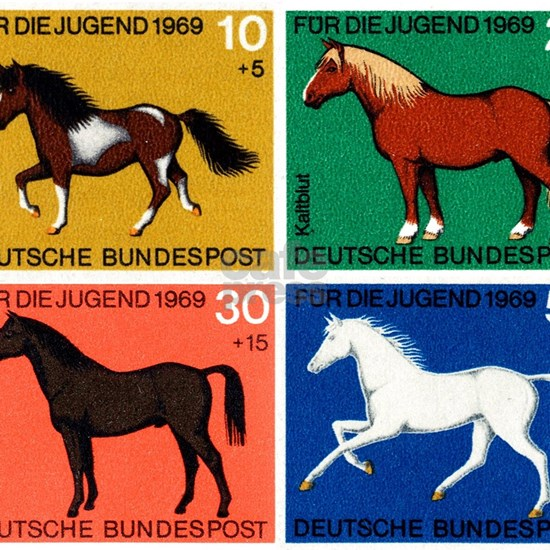 1969 Germany Horses Set Postage Stamps