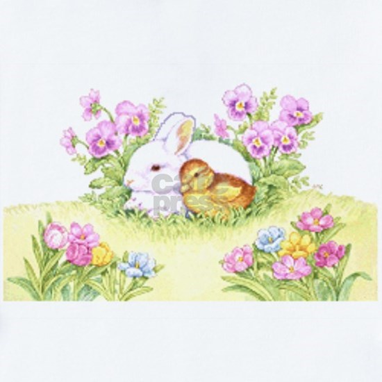 Easter Bunny, Duckling and Flowers
