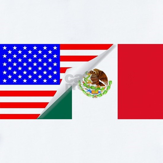 United States and Mexico Flags Combined