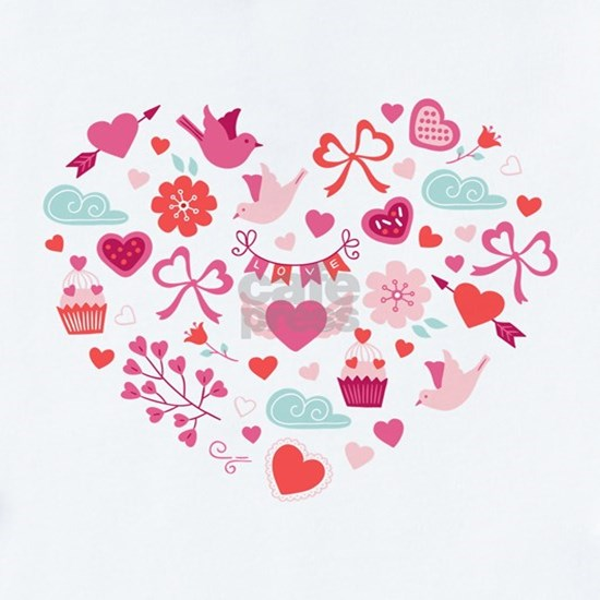 Valentines Day Heart #12 - Birds, Bows, Love