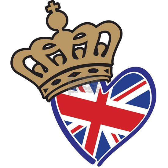 Royal Crown Union Jack Heart Flag