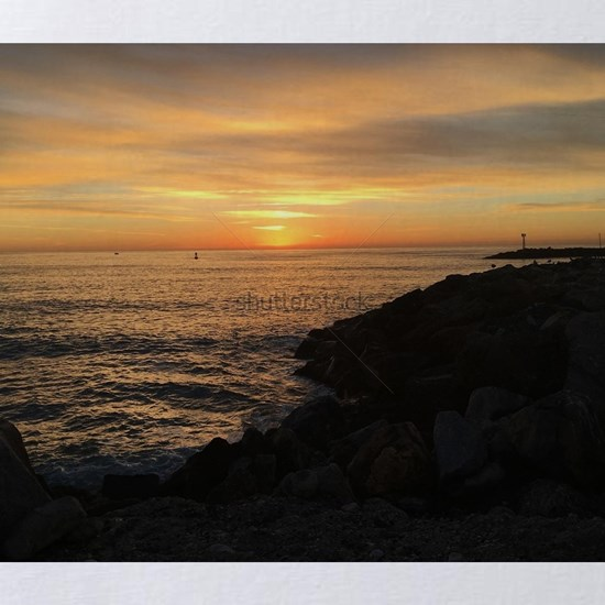 Coastal Sunset with clouds