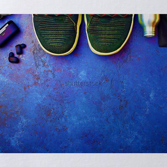 Sports athlete sneakers, headphones, water bottle,