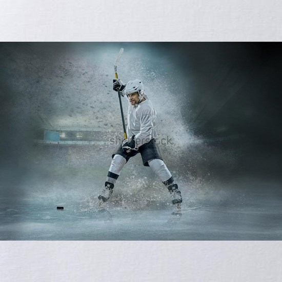 Caucassian ice hockey Players in dynamic action in