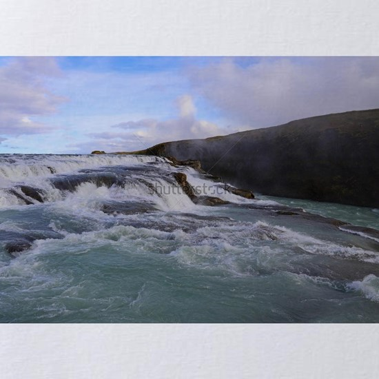 A scenic view of the Gullfoss waterfall - one of t