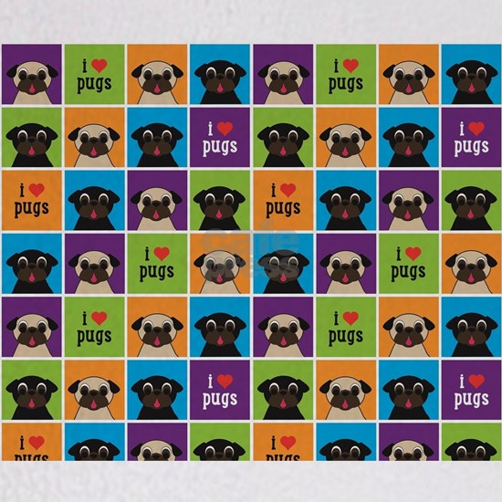 I Love Pugs Sm Color Squares