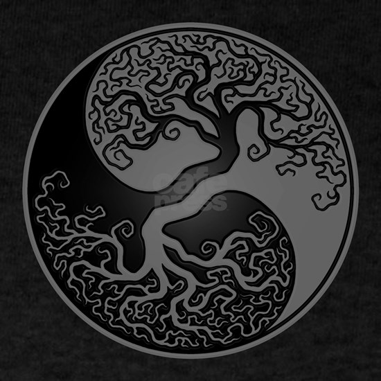 Grey and Black Yin Yang Tree
