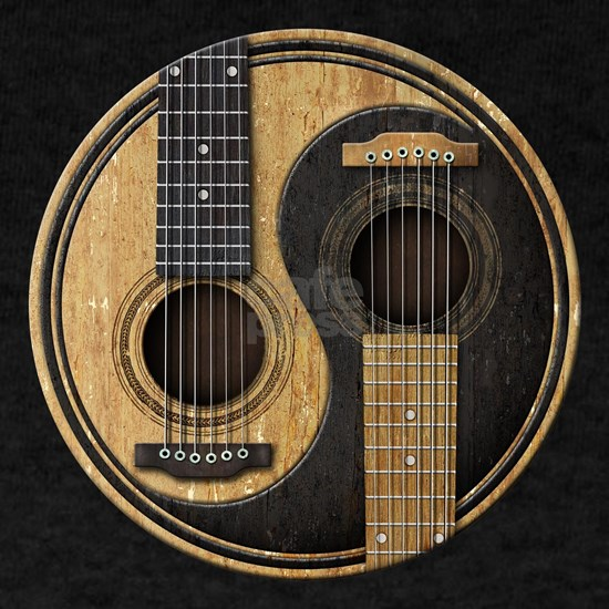 Old and Worn Acoustic Guitars Yin Yang