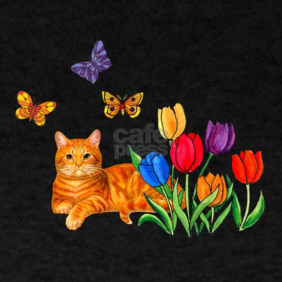 Orange Cat In Tulips
