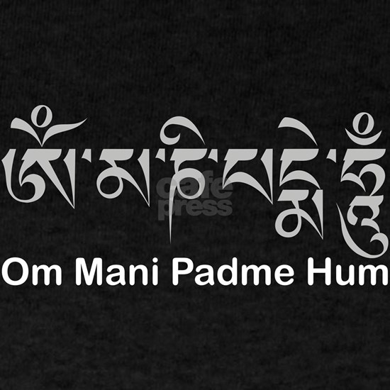 Om Mani Padme Hum in white