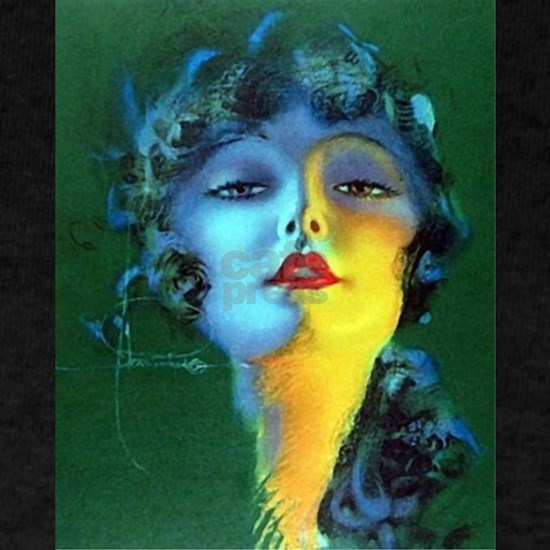 Flapper Art Deco Woman on Green Roaring 20s