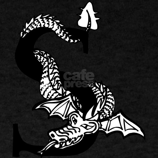 Black and White Dragon Letter S