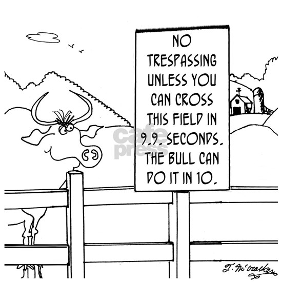 No Trespassing Unless Youre Faster Than a Bull