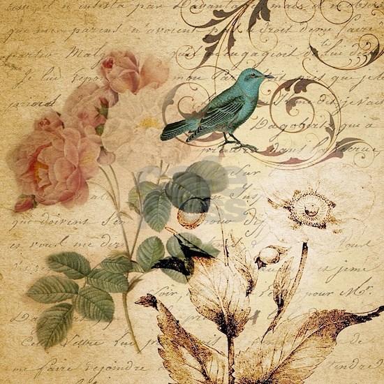 teal bird vintage roses botanical art
