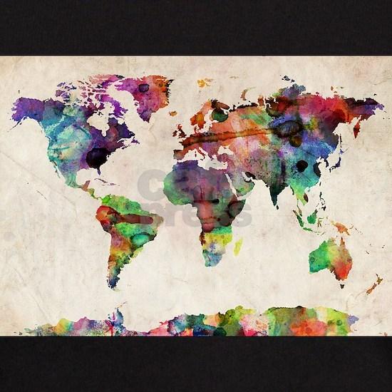 World Map Urban Watercolor 14x10