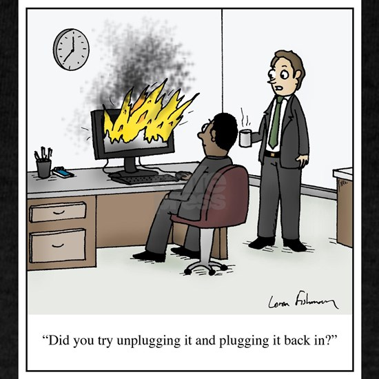 Unplug and plug back in cartoon