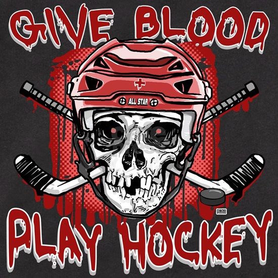 13_HOCKEY_SKULL_1c Men's Fitted T-Shirt (dark) Give Blood