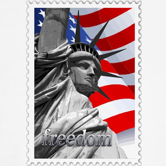 GRAPHIC STATUE OF LIBERTY WITH FLAG STAMP  text FR