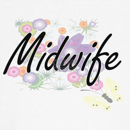 Midwife Artistic Job Design with Flowers