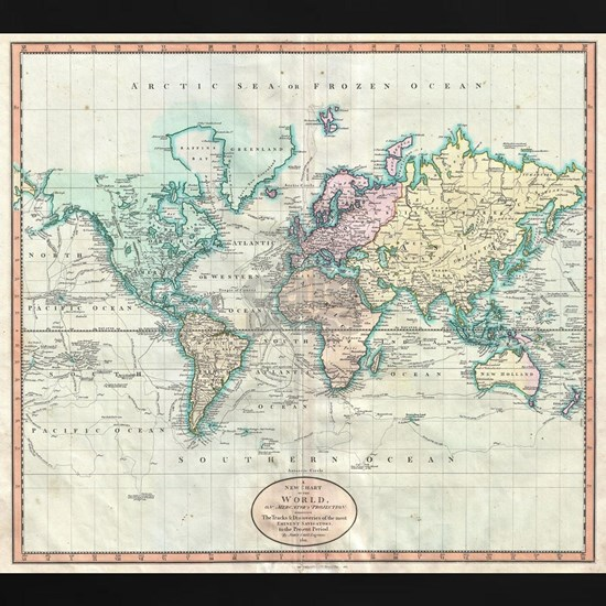 Vintage Map of The World (1801)