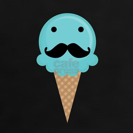 Blue Waffle Cone Mustache Face