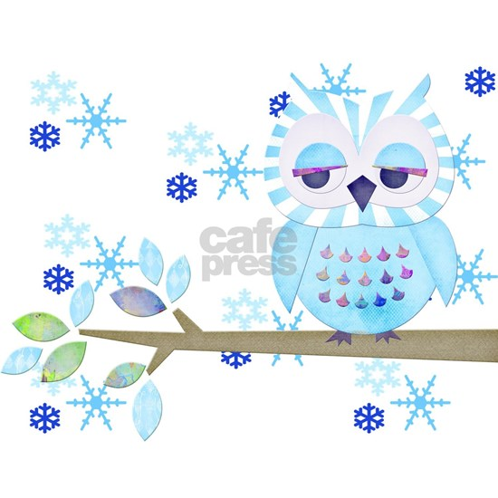 Blue Striped Winter Snow Owl