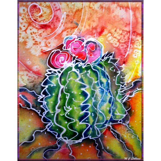 Colorful cactus, southwest desert art