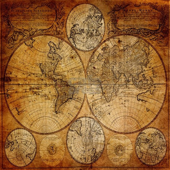 voyage compass vintage world map