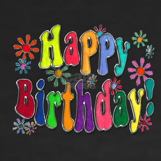 Happy Birthday Word Art Flowers copy