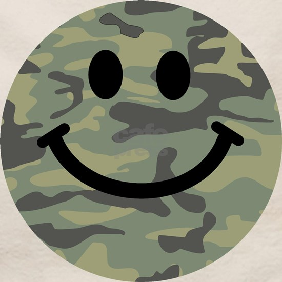 Green Camo Smiley Face