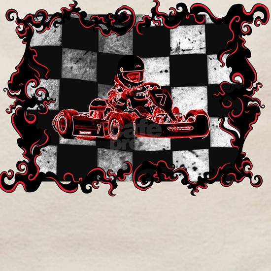 Red Racer framed with Checkered Flag