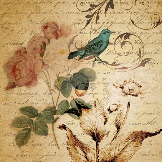 teal bird vintage roses botanical art