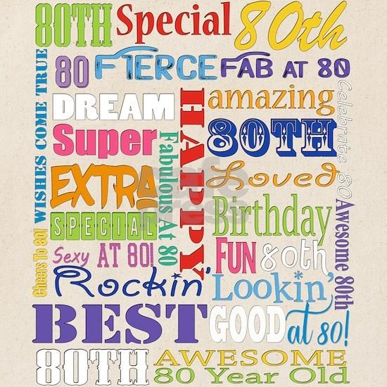80th Birthday Typography