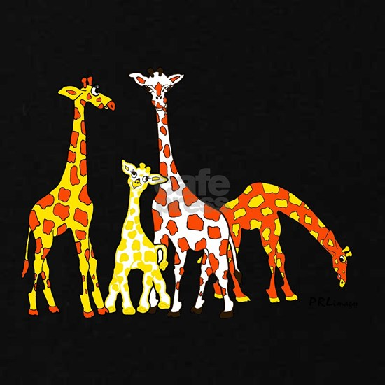Giraffe Family Portrait in Oranges and Yellows