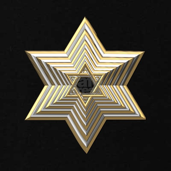 3-D Silver and Gold Star of David